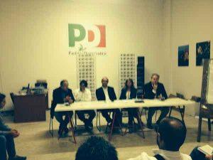 Un momento della conferenza stampa della delegazione del Pd